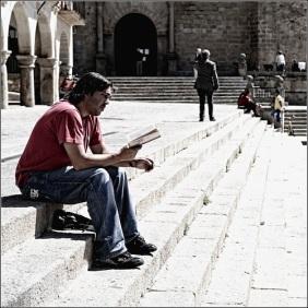 On reading, Trujillo, Spain
